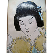 Japanese Illustrated  Art Geisha Painting Art signed