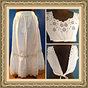 Edwardian Eyelet Slip Skirt & Camisole Victorian Cotton Lacy Detail in excellent condition