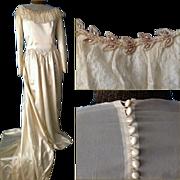 SOLD 1940 MAURER Ivory Satin Lace Beaded Wedding Dress