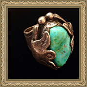 Vintage Large Turquoise Chunk Silver Navajo Ring signed Begay