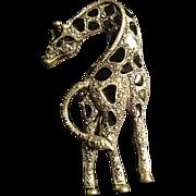 Vintage Silver Onyx Giraffe Brooch Pin