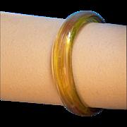 Vintage Amber Gold Glass Bangle Bracelet