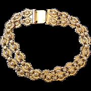 Vintage Freirich Gold Floral Double Strand Bracelet