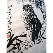 SOLD Vintage Large CHINESE OWL Ink Painting Art signed