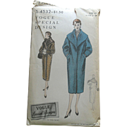 SOLD Vintage 1954 Vogue SPECIAL DESIGN Straight Coat High Collar Sewing Pattern uncut
