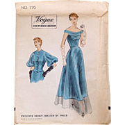SOLD 1953 Vogue Couturier Design CONDE NAST Gown Jacket Dress Sewing Pattern uncut
