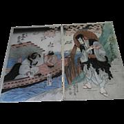 SOLD A+ 1st Edition Kuniyoshi Japanese Landscape Boat Beauty Woodblock Diptych Print
