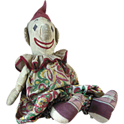 Antique Clown Cloth Doll with Large Hands & Original Clothing