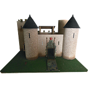 Unusual Vintage Doll House Castle w Turrets & Mote for Doll or Lead Toy Soldiers