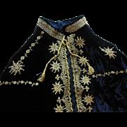 Antique Edwardian Lush Black Velvet Heavy Gold Braid Evening Capelette Cape Coat