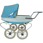 Vintage Doucet French Doll Carriage Pram in French Blue with White Tires