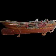 "Antique 48"" Wooden Model Ship with Linen Sales for restoration"