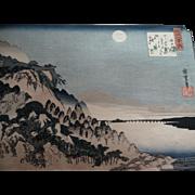 19C Hiroshige Autumn Moon at Ishiyama on Lake Biwa Japanese Woodblock Print