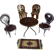 Antique Dollhouse Tin Metal Heart Floral Chairs Table Miniature Doll Lot