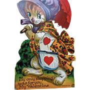 Vintage Cat Mechanical Valentine Card in Original Envelope unused condition