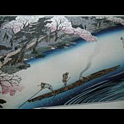 SALE PENDING Antique 19C Hiroshige Japanese Cherry Blossom Boat Landscape Woodblock Print