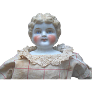 """ABG China Head 22"""" Doll in Original Dress Red Cheeks for parts or repair An Exceptional Antique Doll !"""