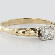 SOLD Art Deco Diamond Solitaire 14 Karat Yellow White Gold Engagement Ring Vintage Estate Old