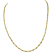 SOLD Designer SOA 18 Karat Yellow Gold Bead Bar Chain Necklace Italy