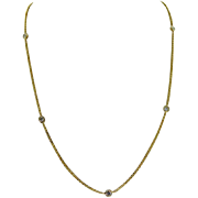 SOLD Vintage 14 Karat Yellow Gold Diamonds By The Yard Necklace