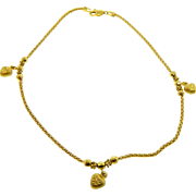 Estate 18 Karat Yellow Gold 3D Heart Anklet