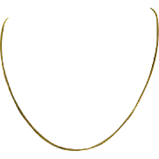 SOLD Estate 22 Karat Yellow Gold Box Chain Necklace 21 1/2 Inches 6.8 Grams