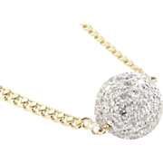 SOLD Vintage 14K Two Tone Gold Diamond Ball Necklace