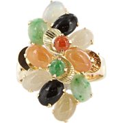 Vintage 14K Yellow Gold Multicolor Jade Opal Mother's Cluster Ring