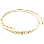 SOLD Estate 14K Yellow Gold Diamond Omega Necklace