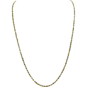 SOLD Estate 14K Two Tone Gold Diamond Cut Twisted Ribbon Chain Necklace Italy