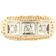 Vintage Deco 14k Two Tone Gold Diamond Anniversary Ring Band