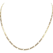 Estate 14K Yellow Gold 20 Inch Figaro Chain Necklace