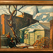 Yaro Brozek   Front Yard in Winter  18x22 oil