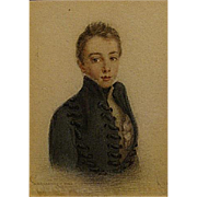 1826 miniature portrait of a young lad-by Felicite Lagrenne
