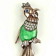 Vintage Vermeil Parrot Brooch with Green Enamel RS