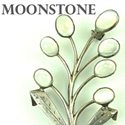 Lovely Arts & Crafts Sterling and Moonstone Stylized Figural Floral Brooch