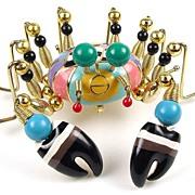 Whimsical NY Artisan Enamel, Bead and Metal Figural Crab Brooch