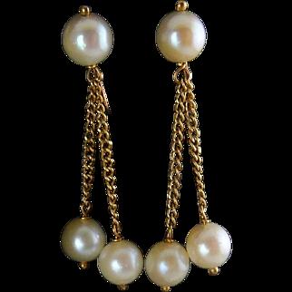 14K Gold & White Pearl Double Dangle Earrings – Screw On Backs