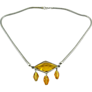SALE 1930s Deco Citrine Glass Pendant with Drops, Snake Chain Necklace
