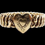 SALE American Queen Sterling Silver Vermeil Heart Front Sweetheart Expansion Bracelet - Pitman