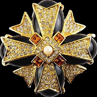 Joan Rivers Maltese Cross Brooch Black Glass Yellow Topaz & Crystal Rhinestones