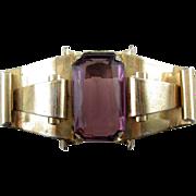 SALE Big CORO 1942 Retro Layered Scrolls Pin - Lg. Amethyst Glass Jewel