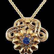 "SALE Retro Gold Filled Flower & Scrolls Blue Crystal Pendant, 20"" G.F. Necklace"