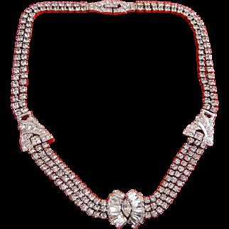 Phyllis Sterling Silver & Rhinestone Art Deco 3-Strand Necklace