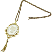 SALE 1960's Reverse Molded Glass Crystal Cameo Pendant with Tassel, Necklace