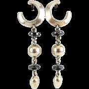 SALE Sterling & Hematite Beads Long Drop Earrings - Modernist Style