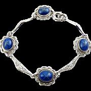 SALE Simulated Star Sapphire Bracelet - Rhodium-Plated Filigree