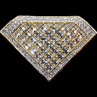 Vintage SWAROVSKI Crystal Diamond Solitaire Shape Pin - Square & Round Pave Stones
