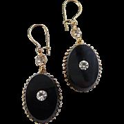 Victorian Style Black Glass & Rhinestone Drop Earrings - Pierced Wires
