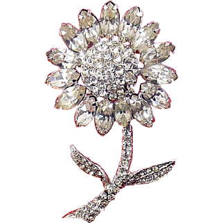 1960's WEISS Rhinestone Daisy Flower with Stem Pin